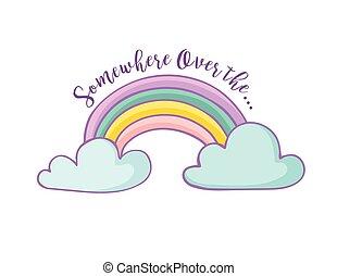 regnbue, -, hilsen card, cute
