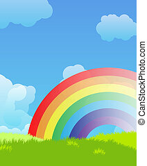 regnbue, landskab