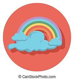 regnbue, lejlighed, ikon, cirkel