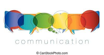regnbue, marketing., netværk, kontakter, kammerater, concept., communication., isoleret, chatting., community., farver, vektor, tale, online kommunikation, tekst, boble