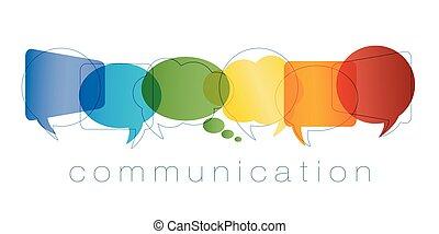 regnbue, marketing., netværk, kontakter, kammerater, concept., kommunikation, isoleret, chatting., community., vektor, tekst, colors., online, tale boble, communication.