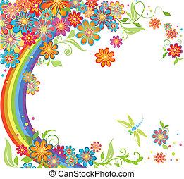regnbue, og, blomster