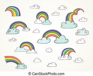 regnbue, sæt, cute, -, hånd, vektor, illustrationer, stram
