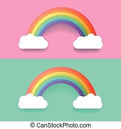 regnbue, sæt, farverig, illustration, clouds., vektor