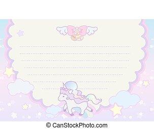 regnbue, skabelon, pastel, magiske, cute, brev, enhjørning, dejlige, sky
