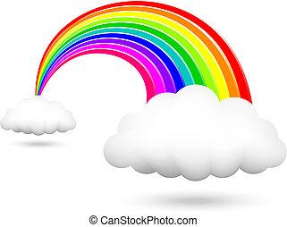 regnbue, skinnende