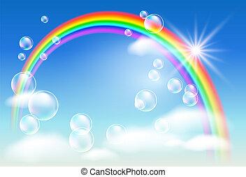 regnbue, skyer, bobler