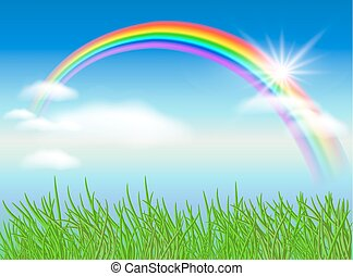 regnbue, sol