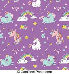regnbue, trylleri, mønster, -, hånd, enhjørning, stram, fairy, vinger