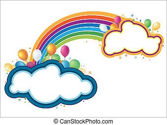 regnbue, vektor, balloner