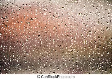regndroppar, fönster, yta, hem