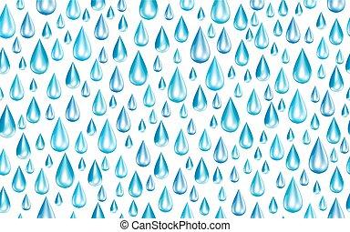 regndroppar, vektor, seamless