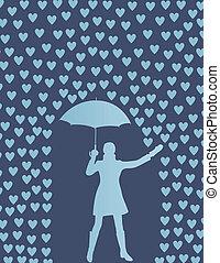 regne, kvinde, paraply, valentines, hjerter, dag, card