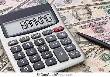 regnemaskine, hos, penge, -, bankvirksomhed