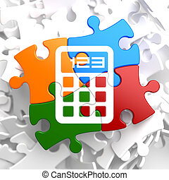 regnemaskine, ikon, på, multicolor, puzzle.