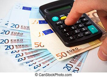 regnemaskine, og, penge, -, bogholderi, begreb