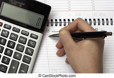 regnemaskine, organisatør, og, pen