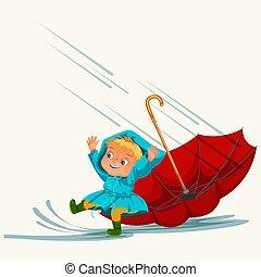 regnen, gehen, aus, tropfender , stiefeln, pfützen, m�dchen, kinder, himmelsgewölbe, gummi, unter, schirm, wasserdicht, abbildung, wasser, springende , regen, junge, jacke, vektor, tropfen, oder