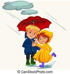 regnen, gehen, liebe, familie, tropfender , gummi, unter, frau, schirm, wasserdicht, paar, stiefeln, regen, abbildung, hände, mann, pfützen, wolkenhimmel, ehefrau, jacke, vektor, regentropfen, ehemann