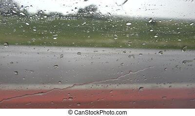 regnerisch, bus, straße, fenster, auto, tropfen, wasser