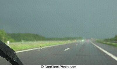 regnerisch, fahren, conditions., auto, schlechtes wetter,...