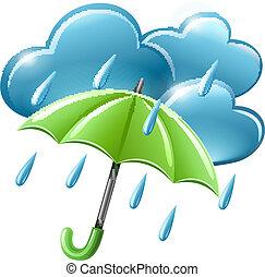 regnig väder, ikon, med, skyn, och, paraply