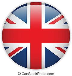 regno, bandiera, unito, lucido, bottone