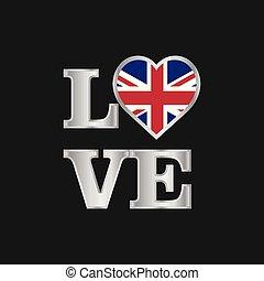 regno, bello, unito, amore, iscrizione, tipografia, bandiera, vettore, disegno