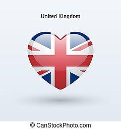 regno, cuore, unito, amore, simbolo., bandiera, icon.