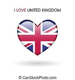 regno, cuore, unito, amore, simbolo., bandiera, lucido, icona