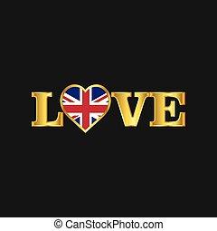 regno, dorato, unito, amore, tipografia, bandiera, vettore, disegno
