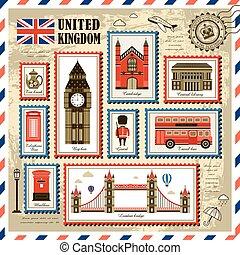 regno, francobollo, viaggiare, unito, collezione