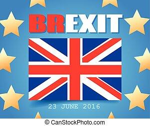 regno, grande, unito, brexit., unione, flag., bandiera, referendum., gran bretagna, vettore, uscita, europeo, regno unito, eu, europe., illustration.