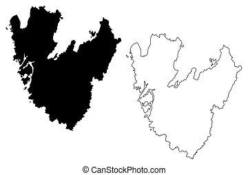 regno, mappa, schizzo, g?taland, (counties, v?stra, ...