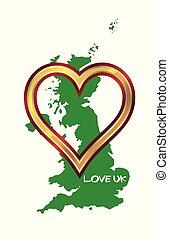 regno, mappa, unito, amare cuore