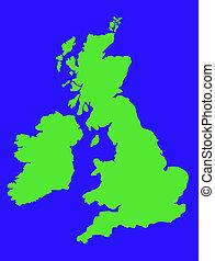 regno, mappa, unito, verde, contorno