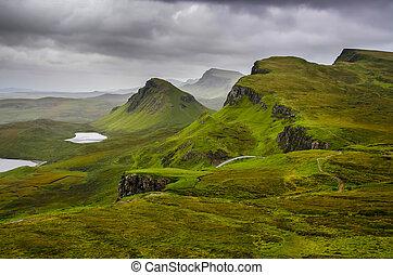 regno, montagne, quiraing, unito, scenico, cielo, skye,...
