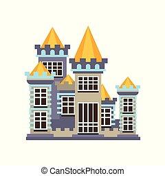 regno, pietra, medievale, illustrazione, vettore, fondo, castello, bianco