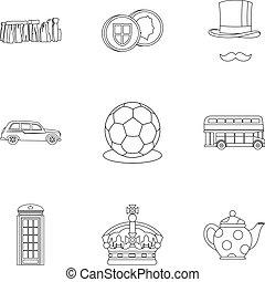 regno, stile, unito, contorno, icone, set, paese