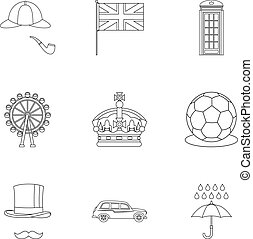 regno, stile, unito, contorno, icone, set, turismo