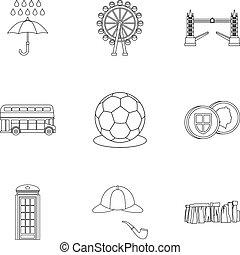 regno, stile, unito, contorno, icone, set, vacanza