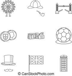 regno, stile, unito, contorno, icone, set