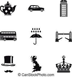 regno, stile, unito, icone, set, semplice, turismo