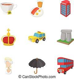 regno, stile, unito, icone, set, vacanza, cartone animato
