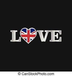 regno, unito, amore, tipografia, bandiera, vettore, disegno