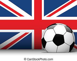 regno, unito, bandiera, palla, fondo, calcio