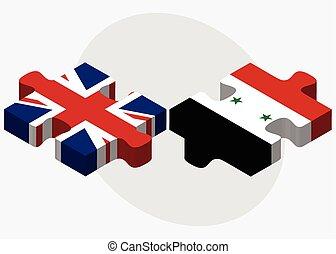 regno unito, bandiere, siria
