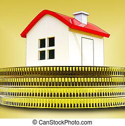 regno, unito, finanziario, valuations, mezzi, casa, -, contanti, illustrazione, economico, regno unito, prezzi, 3d