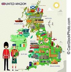 regno, unito, viaggiare, vettore, map., illustration.