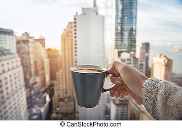 regntak, kaffe, lyxvara, kopp
